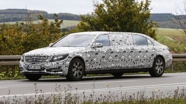 Mammoth Mercedes S600 Pullman Limo Spied